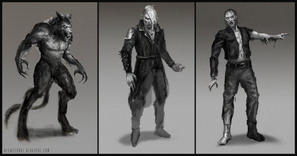 http://blewzen.deviantart.com/art/Werewolf-vampire-zombie-sketches-450864569